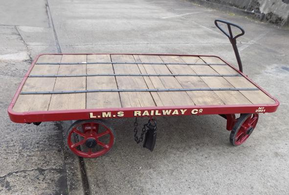 British railway luggage cart - sign written LMS railway and co