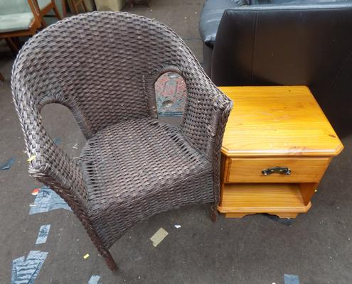 Wicker chair and pine unit