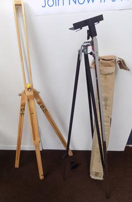 2 easels - 1 metal and 1 wooden
