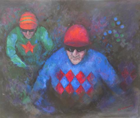 Large oil on canvas - The Jockey - signed by artist - Oxborough