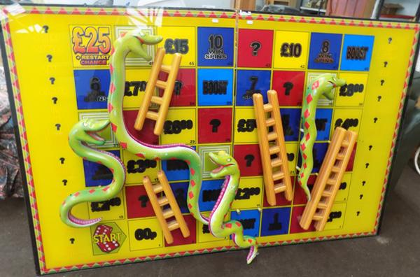 Approx. 4ft x 6ft snakes and ladders game board from amusements