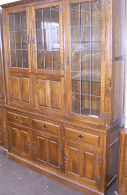 Luptons oak furniture glass topped cabinet