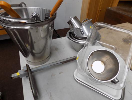 Selection of commercial pots and tin opener
