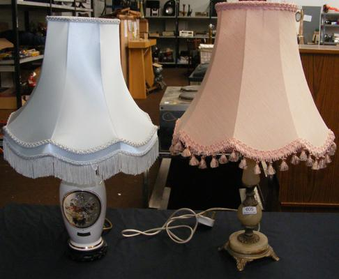 Two table lamps - 1 chokin and 1 onyx