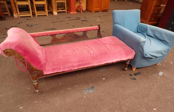 Antique chaise lounge (restoration project) and habitat conran armchair