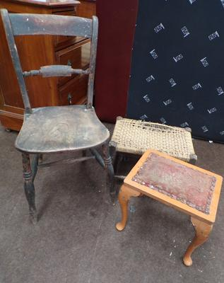 Vintage wooden chair and two vintage stools