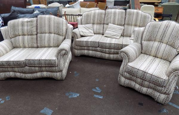 Three seater and two seater sofas and armchair with 3 cushions