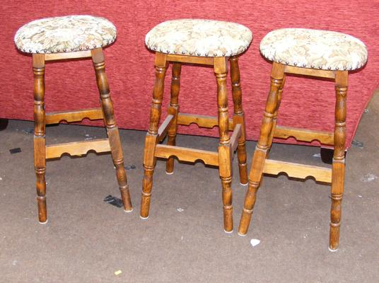 Three oak bar stools