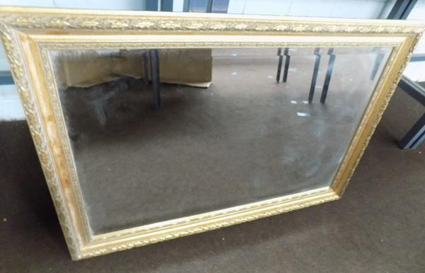 Quality vintage pine gilt edge bevelled glass mirror