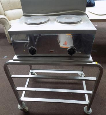 Stainless steel trolley and 2 ring hob W/O