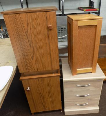 3 bedside cabinets and linen box