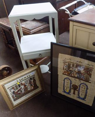 Painted hall table and 2 Egyptian themed framed pictures