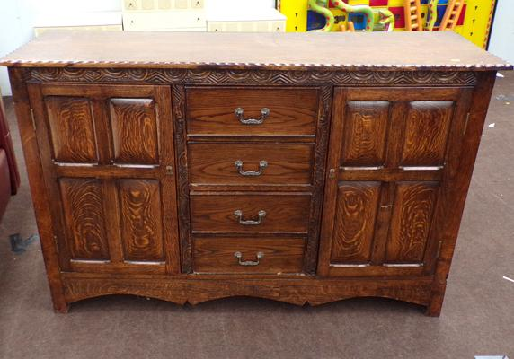 Vintage oak sideboard with middle drawer section