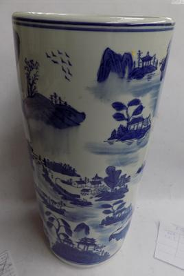 Large ceramic blue and white stick/ umbrella stand - no damage found