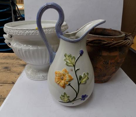 2 large planters and jug