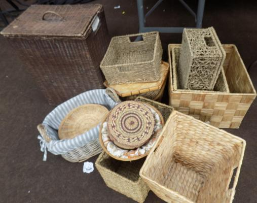 Selection of vintage and modern baskets