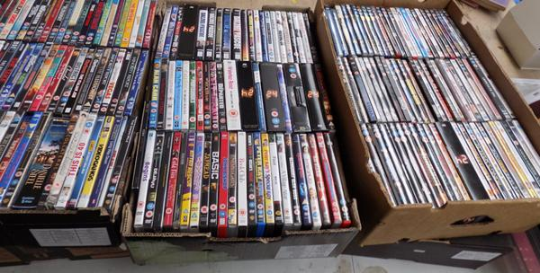 3 boxes of DVD's