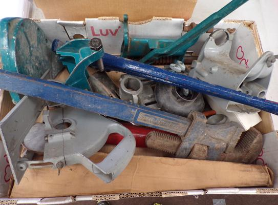 Box of tools including Skilsons & Drill