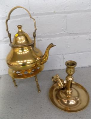 Brass kettle with stand and brass candlestick with snuffer