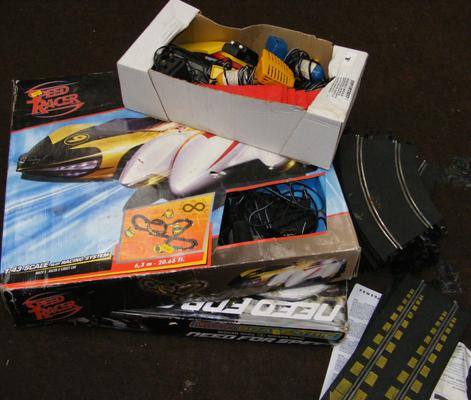 Bag of scalextric track and accessories - 2 boxed speed racer - as seen