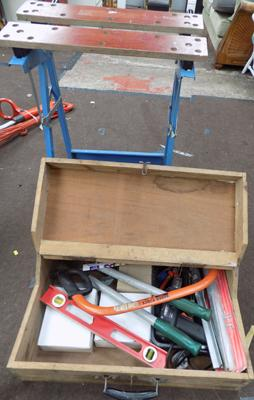 Carpenters box, work bench and tools