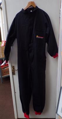 New/ unworn good quality overalls from Silverstone driving centre - size XL black with red cuffs