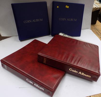 4x Empty coin albums, spare coins sleeves & dividers