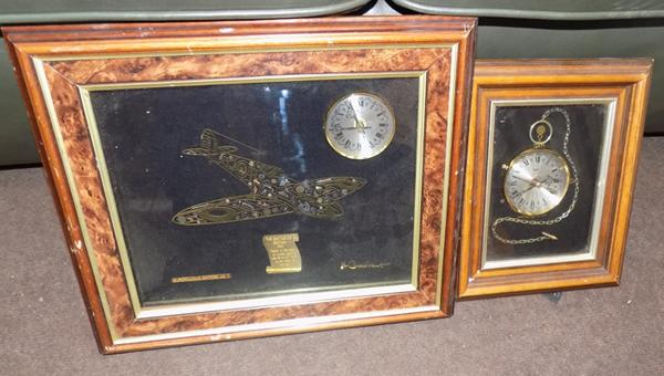 2 novelty clocks (Spitfire and pocket watch)