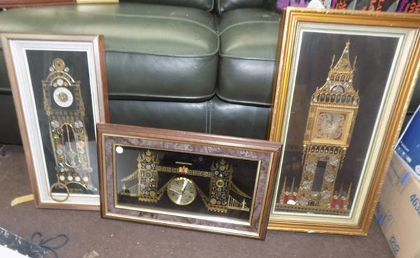 3 novelty clock part clocks