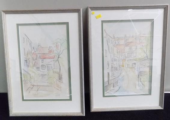 Pair of H Marshall framed pictures of Robins Hoods Bay