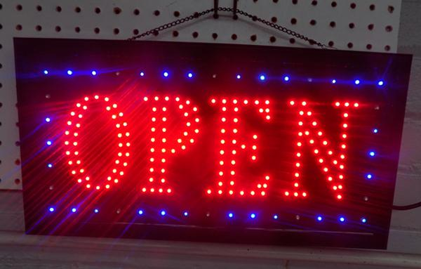 LED flashing 'Open' sign