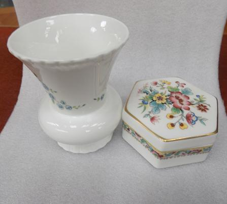 Two Coalport China items - small vase and trinket dish