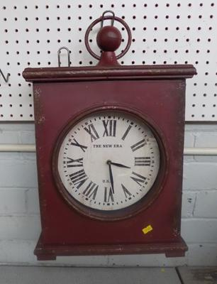 Large 1940's style railway hanging cased clock -  heavy metal case