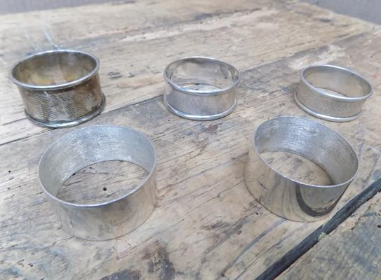 Five sterling silver hallmarked napkin rings
