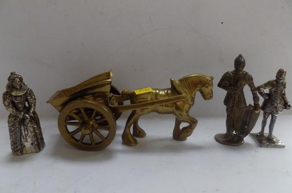 Vintage solid brass horse and cart and 3 figures