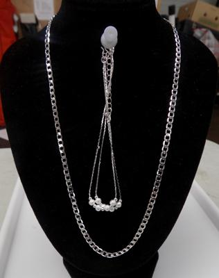 925 silver flat curb chain + 925 silver bracelet