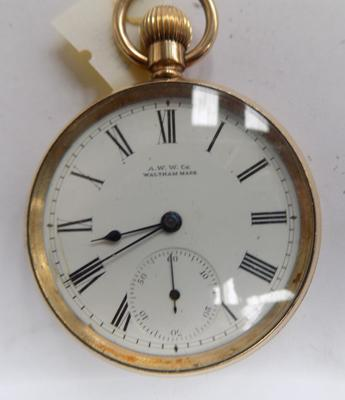 A.W.W. Co. Waltham Mass 14ct gold plate top-winder pocket watch