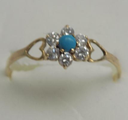 9ct gold turquoise cluster ring, size Y 1/2