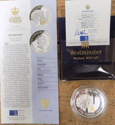 Guernsey silver proof £5 coin and certificate