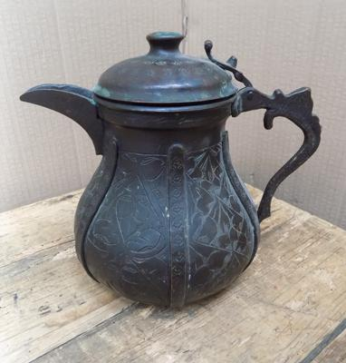 Antique solid bronze Middle Eastern kettle