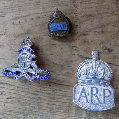 Sterling silver Fusiliers & ARP badge with WWII era R.A.F. badge
