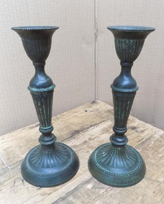 Pair of antique & solid bronze candlesticks