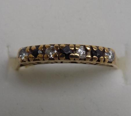 9ct gold sapphire, half eternity 'I Love You' ring, size L 1/2