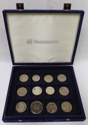 12 crown size coins in Westminster coin collector's case, possibly  silver