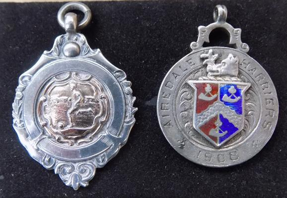 Pair of sterling silver & enamel fob chain medals