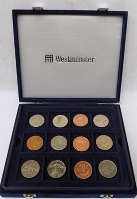 12 coins in Westminster coin collector's case