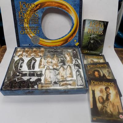 Lord of the Rings chess set with DVDs & book