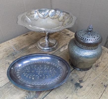 Collection of antique silver plated ware, incl. asparagus dish & comport