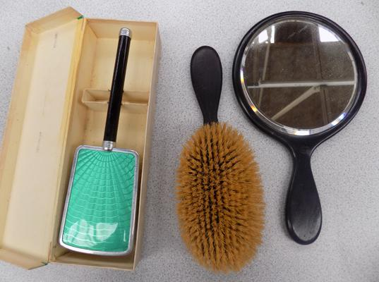 Ebony wood with silver cartouche + handheld mirror/brush set