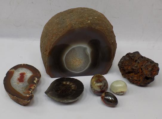 Selection of geodes, polished stones & fossils, with possible meteorite